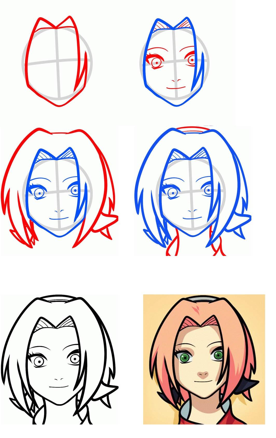 Рисунки аниме простые поэтапно